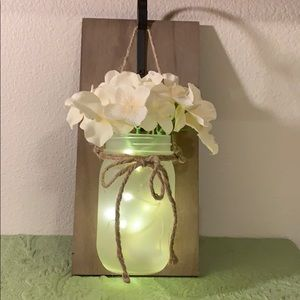Wall Hanging Fabric Flowers in LED Lit Mason Jar